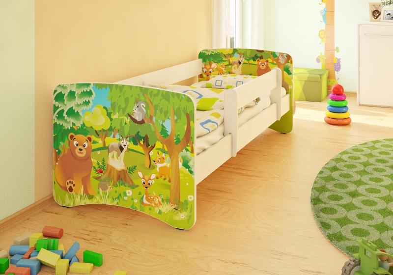 Detská posteľ so zábranou Zvieratká z lesa - 200x90 cm