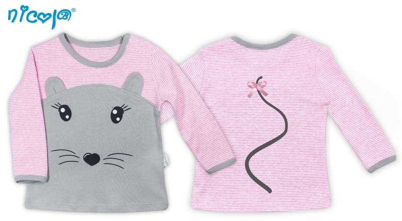 Bavlnené tričko Myšička - dlhý rukáv, vel. 74-74 (6-9m)