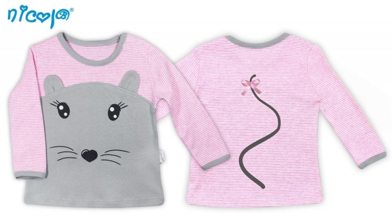 Bavlnené tričko Myšička - dlhý rukáv, vel. 80-80 (9-12m)