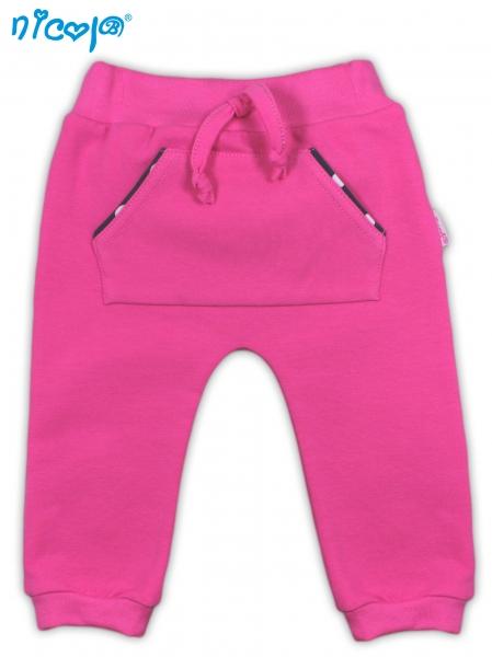 Tepláčky, nohavice Love - malinove, roz. 62-62 (2-3m)