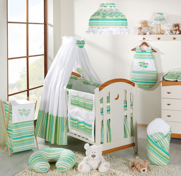 Mamo Tato Krásny volánik pod matrac - Prúžok zelený