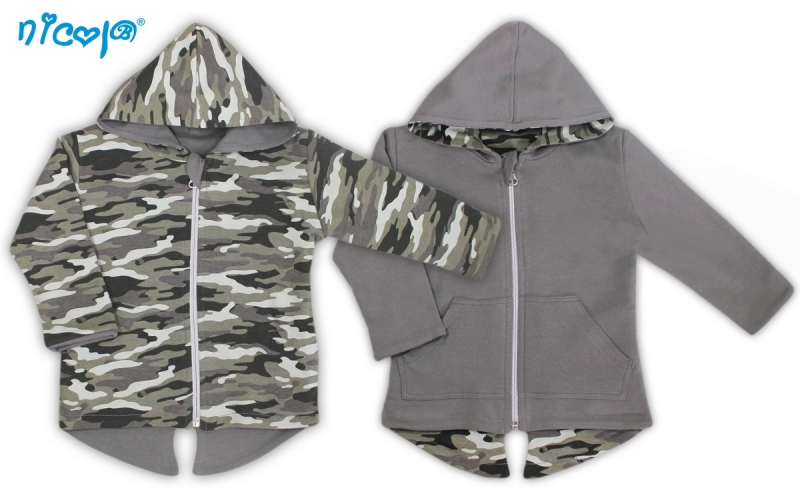 Obojstranný kabátik/bundička Koloušek - sivý/maskáčový-56 (1-2m)