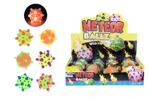 Teddies Míček meteor svítící 12cm plast asst mix barev síťce 12ks boxu
