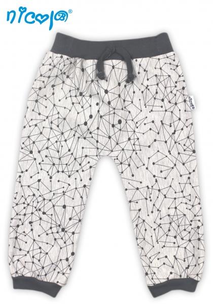 Tepláčky, nohavice Planéta - šedé so vzorom, roz. 62