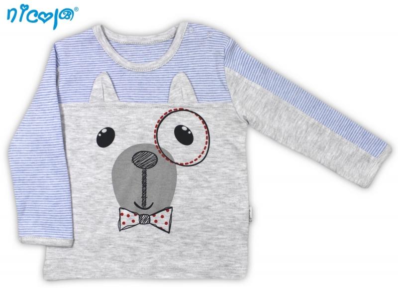Bavlnené tričko Psík - dlhý rukáv, vel´. 98-98 (24-36m)