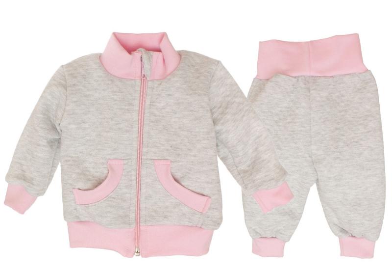 Bavlnená tepláková súprava - sivo/ružová-56 (1-2m)