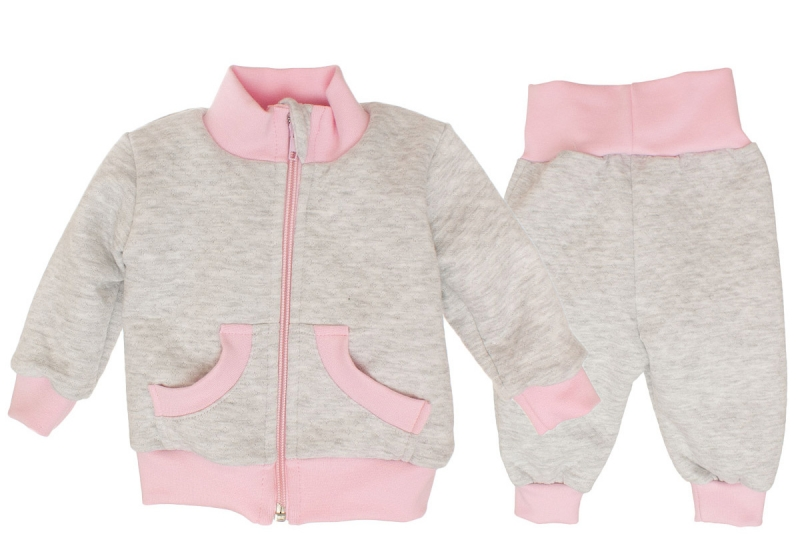 Bavlnená tepláková súprava - sivo/ružová, roz. 74
