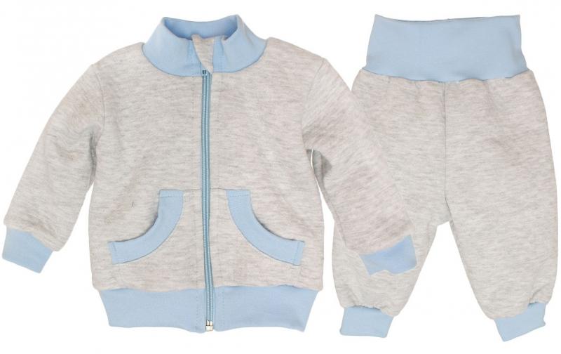 Bavlnená tepláková súprava - sivo/modrá, roz.80-80 (9-12m)