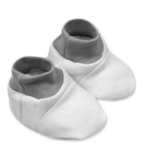 Baby Nellys Topánočky /ponožtičky, Little prince/princess Bavlna - bielo/sivé-0/6 měsíců