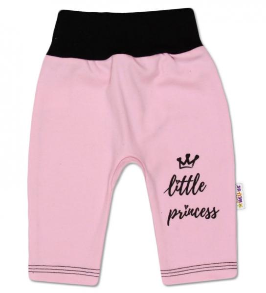 Baby Nellys Bavlnené tepláčky, ružové, veľ. 68 - Little Princess