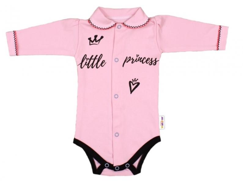 Baby Nellys Body dlhý rukáv s golierikom, veľ. 68, ružové - Little Princess