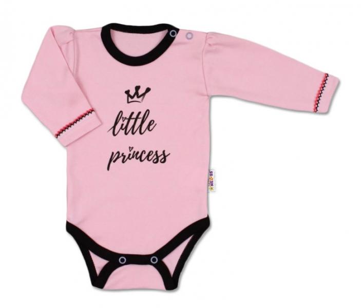 Baby Nellys Body dlhý rukáv, ružové Little Princess