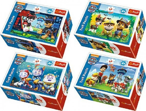 Minipuzzle Paw Patrol 54dílků asst 4 druhy v krabičke 9x6x3cm 40ks v boxe