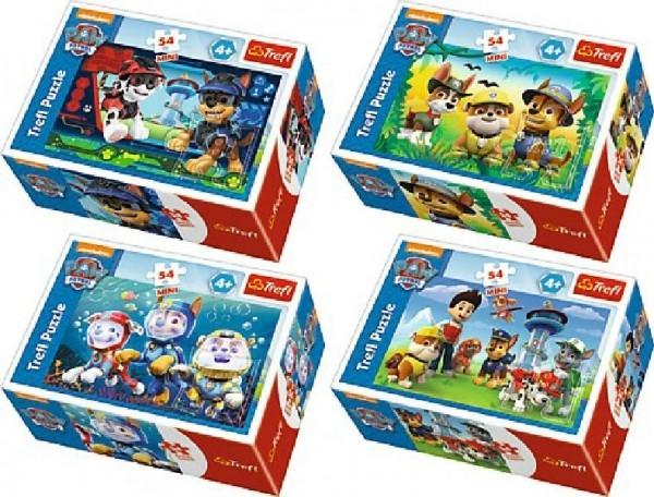 Teddies Minipuzzle Paw Patrol 54dílků asst 4 druhy v krabičke 9x6x3cm 40ks v boxe