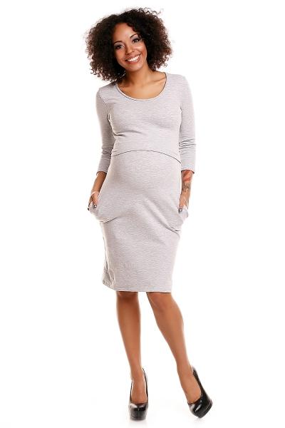 Be MaaMaa Pohodlné tehotenské šaty, 3/4 rukáv - sv. šedé (dojčiace), veľ. XXL-XXL (44)