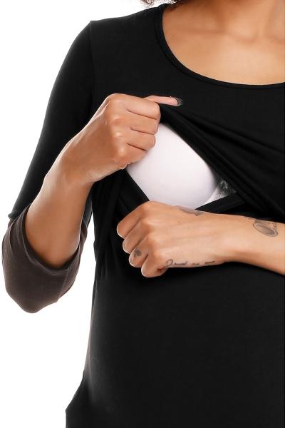 Pohodlné tehotenské šaty, 3/4 rukáv - čierne(dojčiace)