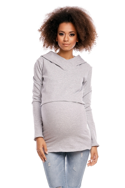 Tehotenské/dojčiace tričko s kapucňou - sv. šedá