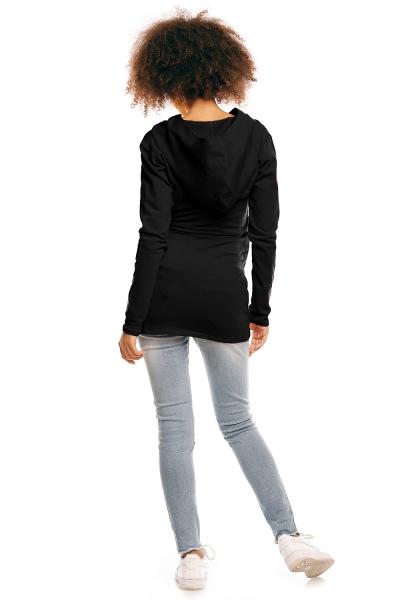 Tehotenské/dojčiace tričko s kapucňou - čierné