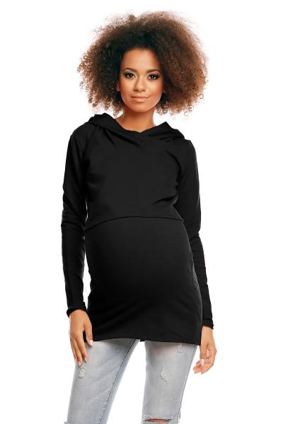 Be MaaMaa Tehotenské/dojčiaca triko s kapucňou - čierné, veľ. XXL-XXL (44)