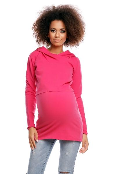 Tehotenské/dojčiace tričko s kapucňou - ružové