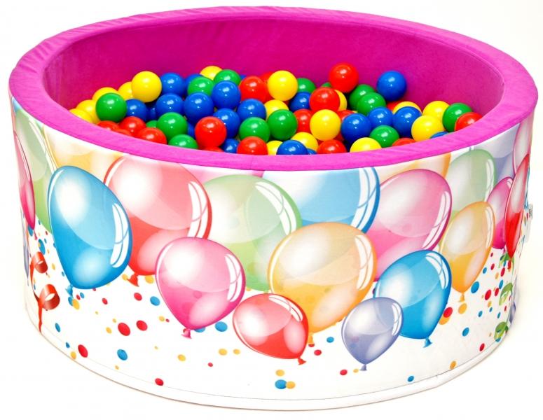 NELLYS Bazén pre deti 90x40cm kruhový tvar + 200 balónikov - růžový s balónky, Ce19