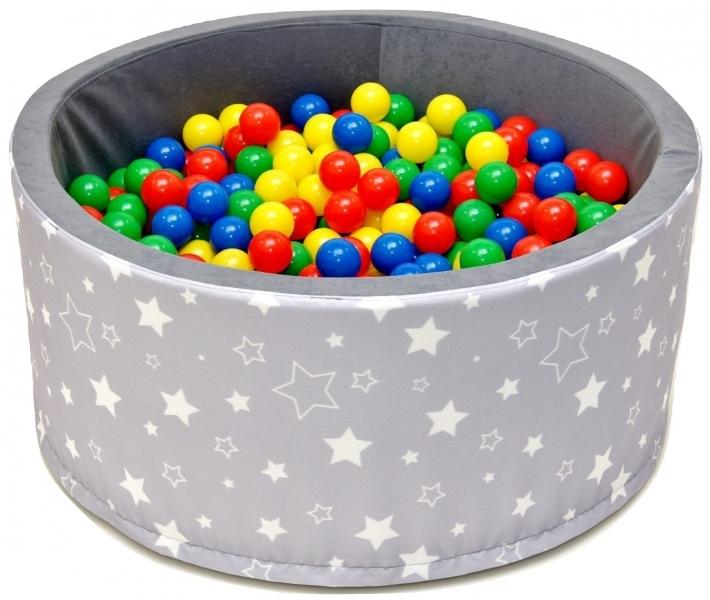NELLYS Bazén pre deti 90x40cm kruhový tvar + 200 balónikov - šedý s hvězdičkami, Ce19