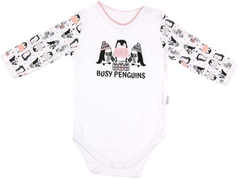 Dojčenské body Penguin - dlhý rukáv, roz. 80-80 (9-12m)