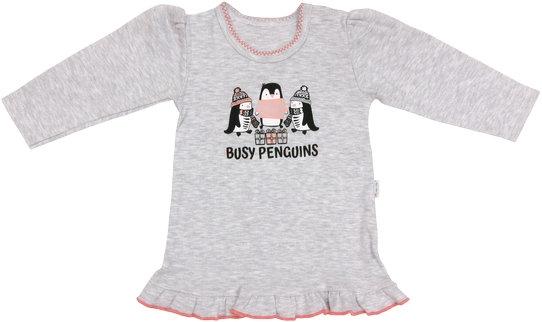 Bavlnená blúzka Penguin - dlhý rukáv - sivá, roz. 86-86 (12-18m)