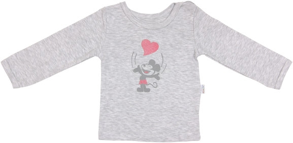 Bavlnené tričko Little mouse - dlhý rukáv - sivé, roz. 80-80 (9-12m)