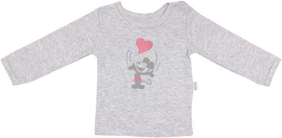 Bavlnené tričko Little mouse - dlhý rukáv - sivé, roz. 98-98 (24-36m)