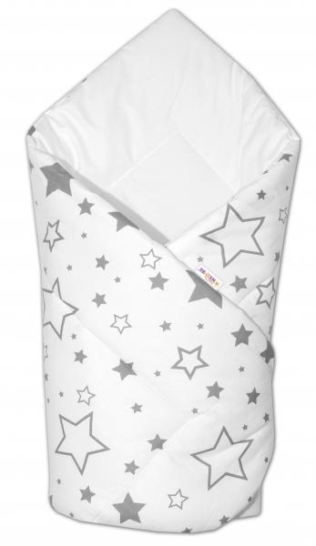 Baby Nellys Novorodenecká rýchlozavinovačka Klasik - Sivé hviezdy a hviezdičky - biela