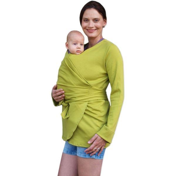 JOŽÁNEK Zavinovací kabátik pre nosiace, tehotné - biobavlněný - limetkový, veľ. S/M