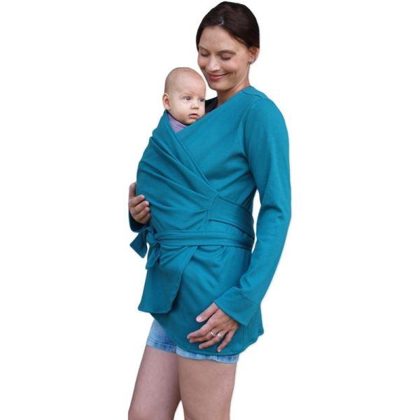 JOŽÁNEK Zavinovací kabátik pre nosiace, tehotné - biobavlněný - petrolejový, veľ. S/M