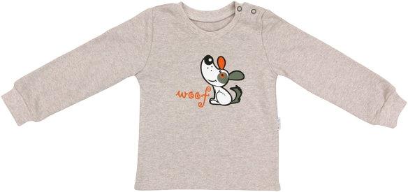 Mamatti Bavlnené tričko Pet´s - béžové, vel. 86-86 (12-18m)