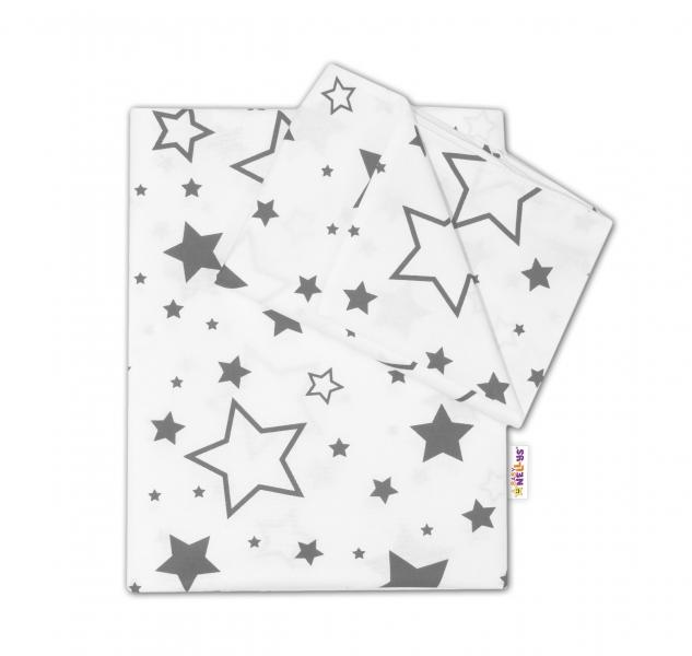 Baby Nellys 2-dielné s obliečkami - Sivé hviezdy a hviezdičky - biely, 135x100 cm