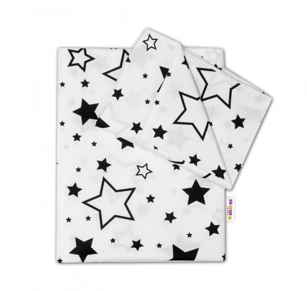 Baby Nellys 2-dielné s obliečkami - Čierne hviezdy a hviezdičky - biely, 135x100 cm
