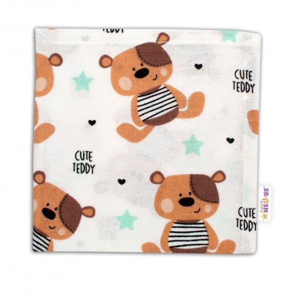 Baby Nellys Mini flanelová plienka - Medvedík hnedý v bielej Cute Teddy