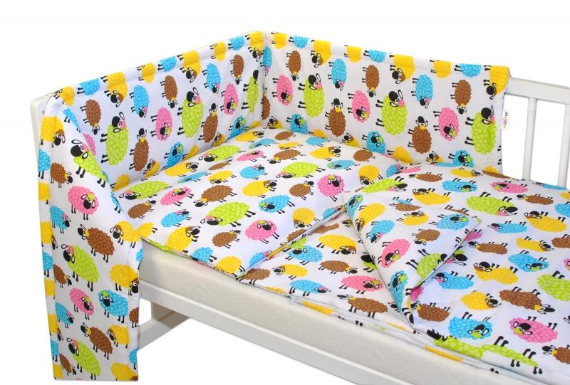 Mantinel s obliečkami - farebné ovečky-120x90