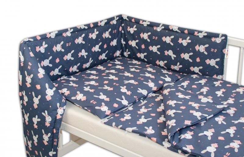 Mantinel s obliečkami - Zajačik - granát, 135x100 cm