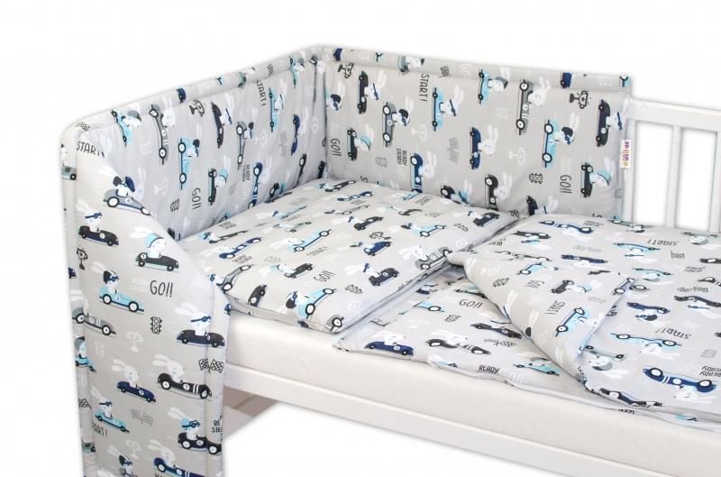 Mantinel s obliečkami - Veselé závody - sivý, 135x100 cm