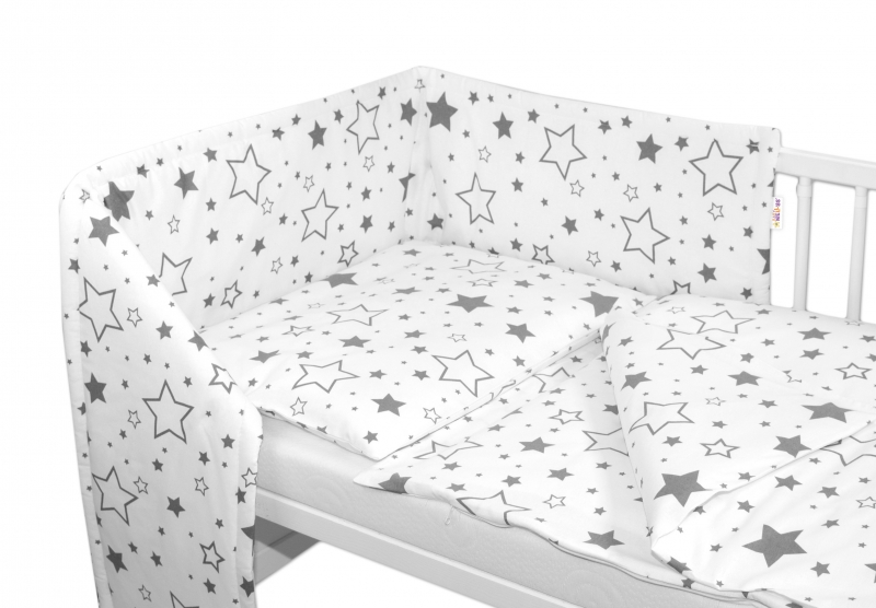 Baby Nellys Mantinel s obliečkami - Sivé hviezdy a hviezdičky - biely, 135x100 cm