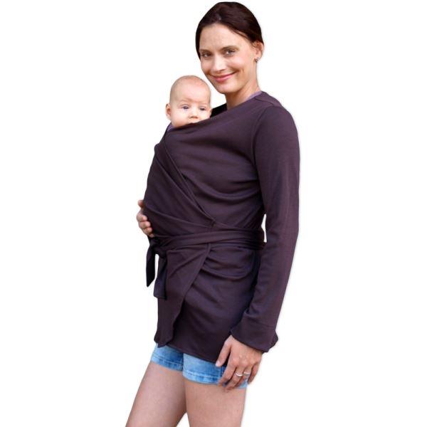 JOŽÁNEK Zavinovací kabátik pre nosiace, tehotné - biobavlněný - čokoládový-S/M