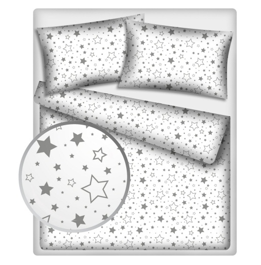 Baby Nellys Bavlnené obliečky 140 x 200 - Sivé hviezdy a hviezdičky