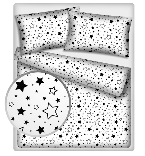 Bavlnené obliečky 140 x 200 - Čierne hviezdy a hviezdičky