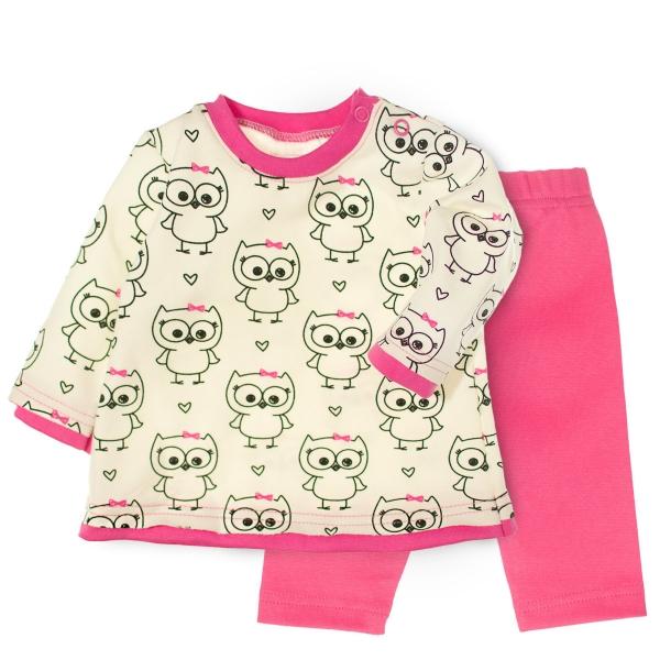 MBaby 2- dielna sada tričko dl. rukáv + tepláčiky - Veselé malej sovy, roz. 68-68 (4-6m)