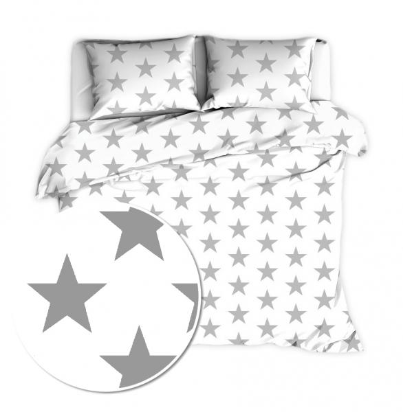 Flanelové obliečky 140 x 200/70x90cm - Veľké hviezdy - bíle