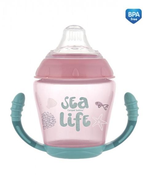 Canpol babies Nevylévací hrnček Sea Life - ružový