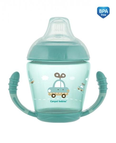 Canpol babies Nevylévací hrnček Toys - tyrkysový