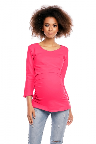 Be MaaMaa Tehotenská/dojčiaca tunika 3/4 rukáv - růžová, veľ. L/XL-L/XL