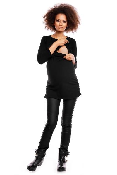 Tehotenská/dojčiaca tunika 3/4 rukáv - čierna
